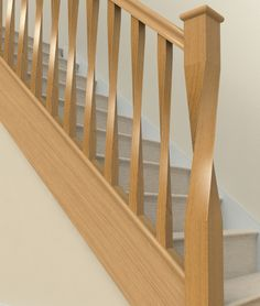 Stair Parts, Stair Spindles, Banisters & Other Wooden Stair Parts renovation Staircase Staircase Banister Ideas, Oak Banister, Staircase Railing Design, Oak Handrail, Stair Spindles, Wood Railing, Oak Stairs, Stair Walls, Wooden Staircases