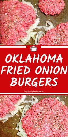 Oklahoma Fried Onion Burgers Recipe - Oklahoma Fried Onion Burgers Recipe Imágenes efectivas que le - Hamburger Recipes, Ground Beef Recipes, Meat Recipes, Cooking Recipes, Best Fried Hamburger Recipe, Chicken Recipes, Hamburger Dishes, Dinner Recipes, Hamburger Buns