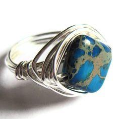Wire Wrapped Ring Blue Jasper Stone Unisex Fashion Jewelry