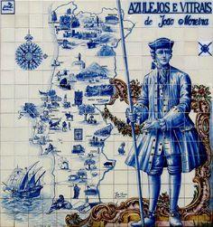 Mapa turistico de Portugal com figura de convite tradicional em azulejos - Jardim do atelier  Escola Antiga