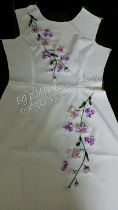 Hat Embroidery Miami Florida considering Silk Embroidered Maxi Dress over Silk Embroidery Floss below Silk Ribbon Embroidery Flowers Tutorial during Ribbon Embroidery Flowers Tutorial Ribbon Embroidery Tutorial, Hand Embroidery Dress, Silk Ribbon Embroidery, Hand Embroidery Designs, Embroidered Silk, Embroidery Stitches, Embroidery Patterns, Rose Patterns, Embroidery Supplies