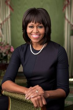 First Lady Michelle Obama wearing Reed Krakoff in her 2013 White House portrait.  -Photo By Doug Kennedy  #FirstLady
