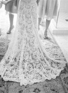 lace trains make such a statement when walking down the aisle.