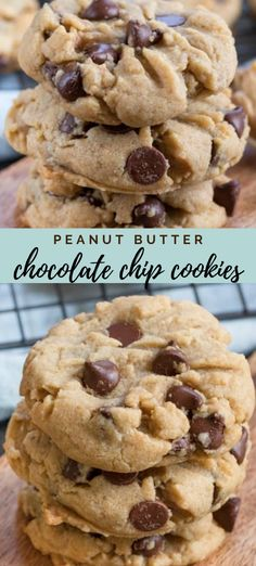 Peanut Butter Chocolate Chip Cookies are the best of both worlds: peanut butter cookies mixed with chocolate chip cookies! Peanut Butter Chocolate Chip Cookies are the best of both worlds: peanut butter cookies mixed with chocolate chip cookies! Homemade Peanut Butter Cookies, Classic Peanut Butter Cookies, Chocolate Cookie Recipes, Peanut Butter Chips, Peanut Butter Recipes, Easy Cookie Recipes, Cookies With Chocolate Chips, Baking Recipes, Mélanges Pour Cookies