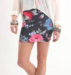 Nollie Womens Floral Folded Skirt