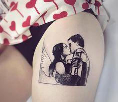 Romeo and Juliet, tattrx tattoo style done by tattoo artist Charley Gerardin Small Side Tattoos, Side Thigh Tattoos Women, Small Girly Tattoos, Tattoos For Women, Tattoo Women, Lower Stomach Tattoos, Stomach Tattoos Women, Movie Tattoos, Body Art Tattoos