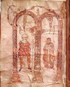 Charlemagne a.wife /Illuminat.Manuscript of artist 9. Jahrhundert, -aachen, -charlemagne, -illuminated, 742, 768-814, 800, 814, 8th