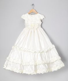 Take a look at this Ivory Tiered Angel-Sleeve Dress - Girls by Pretty Me on #zulily today!