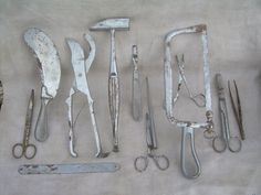Old medical instruments  may trauma  or autopsies