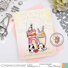 Pretty Cards, Cute Cards, Mama Elephant Stamps, Best Wishes Card, Elephant Design, Shaker Cards, Clear Stamps, Milkshake, Making Ideas