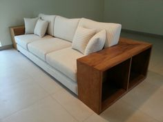 3 seater sofa with storage - solid recycled teak wood
