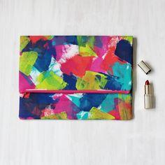 Foldover Zip Clutch/Purse. Handpainted on Cotton Canvas Duck