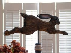 rustic natural Easter decor weather vane inspired woodland leaping hare rustic tabletop easter decor by CattailsWoodwork
