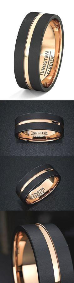 Mens Wedding Band Black Tungsten Ring 8mm Rose Gold Inside Matted Brushed Surfac…  Engagement Rings  Zugriff auf die Website für Informationen   http://storelatina.com/  #logodnă #Izindandatho #રિંગ્સ #Inele
