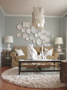 soft tone-on-tone room, layered plate wall