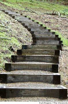 More treated lumber stairs with gravel steps.  Cheapest option?