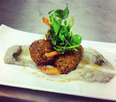 ZIGI'S Meal - Falafel Prawns with Eggplant caviar, Paprika tomato Relish and Citrus Emulsion