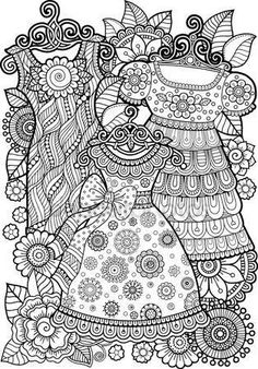 Hand Draw Vector Doodle Coloring Page Stock Vector (Royalty Free) 395169568 Adult Coloring Book Pages, Colouring Pages, Printable Coloring Pages, Coloring Sheets, Doodle Coloring, Mandala Coloring, Free Coloring, Vintage Coloring Books, Vestidos Vintage