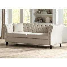 """Brianna Tufted Beige Linen 88 1/2"""" Wide Upholstered Sofa"""