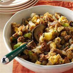 """Everything"" Stuffing Recipe -My husband and father both go crazy for this stuffing! It also freezes well so we can enjoy it long after Thanksgiving has passed. —Bette Votral, Bethlehem, Pennsylvania"