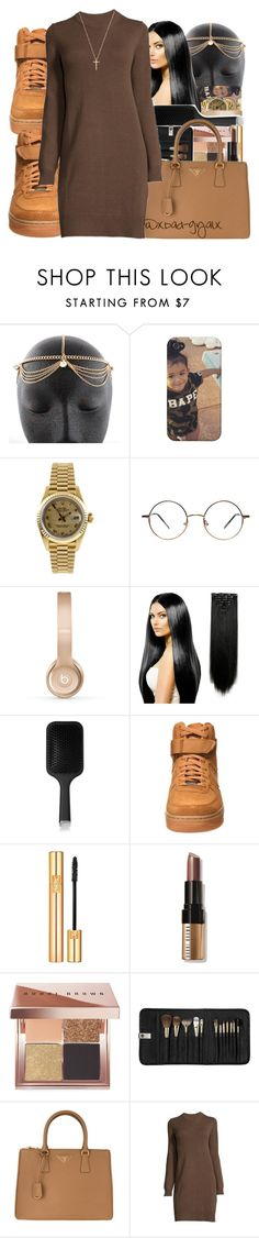 """""""{I'm the one that n!ggas love to turn they backs on}"""" by xbad-gyalx ❤ liked on Polyvore featuring Rolex, Beats by Dr. Dre, GHD, NIKE, Yves Saint Laurent, Bobbi Brown Cosmetics, Sephora Collection, Prada and Gucci"""