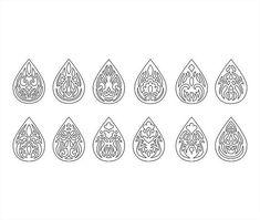 Faux leather earrings Set Ornament Teardrop Pendant laser cut