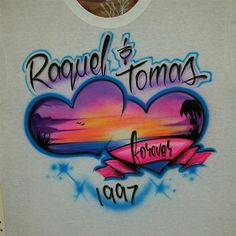 Custom Airbrushed Couples T shirt with names  by AirbrushCustoms