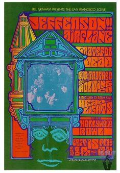 Salas de conciertos. Cartel del concierto de Jefferson Airplane, Grateful Dead & Big Brother & the Holding Co. en la sala Hollywood Bowl (09/15/1967).