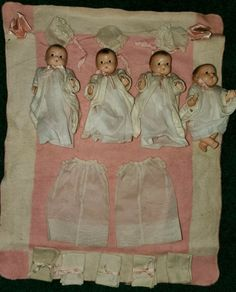 Dionne Quintuplets Composition Effanbee Patsy Tinyette 4 Dolls + 2 Outfits #Effanbee