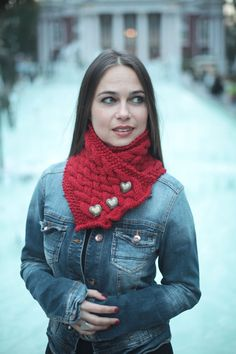 Hand Knit Scarf, Neck Warmer, Cowl, Knit Wool Shawl/ Women Fashion, Knitted Accessories by Solandia. Heartshaped. Valentine's gift. $38.00, via Etsy.