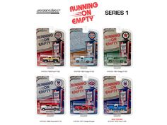 Running on Empty Series 1, 6pc Diecast Car Set 1/64 Diecast Model Cars by Greenlight - Brand new 1:64 scale diecast model car of Running on Empty Series 1, 6pc Diecast Car Set by Greenlight. Limited Edition. Brand New Box. Has Rubber Tires. Metal Body and Chassis. Detailed Interior, Exterior. Officially Licensed Product. Each Model is Packed in Individual Blister Pack. Might come with a chase car instead of one of the cars in a set, but it is not guaranteed. Dimensions of Each Car is…