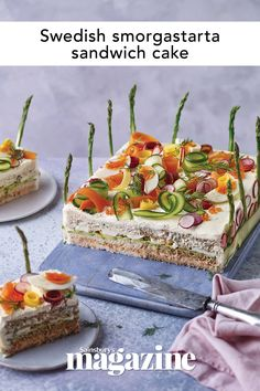 Upgrade your sandwiches and create a beautiful smörgåstårta, aka Swedish sandwich cake. This recipe has a creamy smoked salmon filling decorated with spring vegetables – perfect for picnic food or garden parties. Sandwich Cake, Sandwiches, Swedish Recipes, Sainsburys, Cake Servings, Food Trends, Cookies Ingredients, Light Recipes, Seafood Recipes
