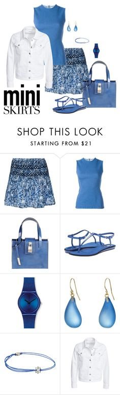 """""""Blue Floral Mini"""" by lwilkinson ❤ liked on Polyvore featuring Scoop, Each X Other, White in 8, Nine West, Swatch, Alexis Bittar, Alex and Ani, Filippa K and MINISKIRT"""