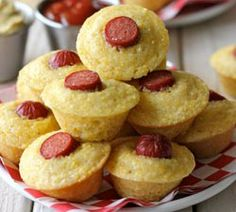 Corn Dog Mini Muffins--used lil smokies cut in half. Only fill cups just half full. Sprinkled with cheddar jack cheese.  Delicious!