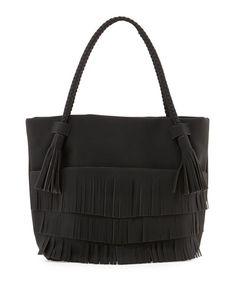 V371S Danielle Nicole Ryver Faux-Leather Fringe Tote Bag, Black