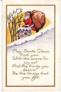 Santa Claus and Chimney Vintage Christmas Postcard Whitney Made by BirdhouseBooks on Etsy