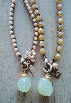 Cottage chic crochet necklace - Summer Glow - blue green chalcedony sterling silver rustic beige opal glass dove summer