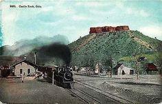 Castle Rock Colorado 1908 Train Arriving Railroad Depot Antique Vintage Postcard