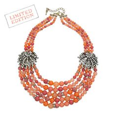 """Heirloom Coral Statement Necklace 168. Rich color, subtle sparkle, + a gorgeous silhouette - this necklace has the look of luxury. Semi-precious coral + an eye-catching mix of beads, separated by clear crystal rondelle stations, make for a statement worth wearing season after season.  shiny rhodium-plated nickel-free plating 19"""" approx. length + 2"""" extender lobster clasp semi-precious coral accents"""