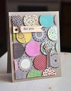 Use up scraps, cut with circle punch. Card by Maile Belles