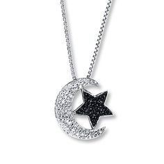 Moon & Star Necklace Black/White Diamonds Sterling Silver this reminds me of the love you to the moon and back that the kids and nana do.