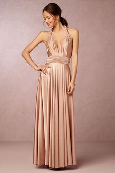 Convertible Pleated Shoulder #Strap Long #Silk Satin #Bridesmaid Dress