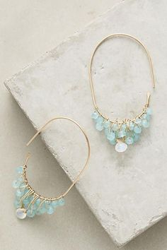 Iceland Hoops - anthropologie.com | Turquoise & Gold Earrings | Jewelry