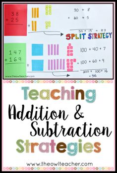 Teaching addition and subtraction strategies can be efficient and effective with these tips and ideas. Check out these activities in the workshop model with a FREEBIE! Addition & Subtraction for Kids Subtraction Strategies, Subtraction Activities, Math Activities, Addition Strategies, Mental Math Strategies, Mental Maths, Teaching Strategies, Numeracy, Teaching Addition
