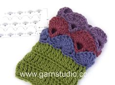 How to crochet the wrist warmers in DROPS 108-25