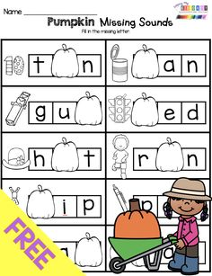 FREEBIE Missing Sounds in CVC Word - Free Pumpkin Phonics Worksheet for kindergarten and first grade - no prep math center for October and Halloween Reading Activities Kindergarten Worksheets, Phonics Activities, Kindergarten Classroom, Kindergarten Reading Activities, Phonics Worksheets, Learning Activities, Halloween Worksheets, Halloween Math, Halloween Activities