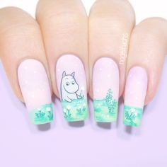 50 Beautiful Nail Art Designs & Ideas Nails have for long been a vital measurement of beauty and Cute Nail Art, Beautiful Nail Art, Cute Nails, My Nails, Moomin, Nail Arts, Nail Art Designs, Finger, Fan Art