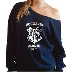 Harry Potter Inspired Hogwarts Alumni Slouchy Oversized Sweatshirt Large, Navy