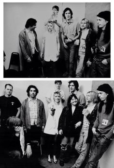 "Nirvana & Sonic Youth backstage during the late August 1991 Europe Tour documented in the movie ""1991 - The Year Punk Broke"""