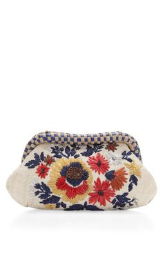 Natural Garden Abaca Straw Clutch Taylor by Serpui Marie